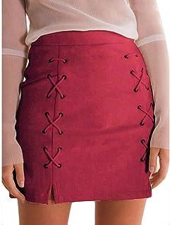 c04ad5458d ADESHOP Femmes Bandage Tissu Suede Fabric Mini Sexy Jupe Slim Stretch sans  Couture Jupe