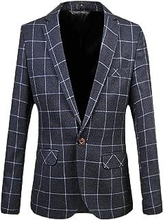 Sodossny-AU Men's Casual Blazer Slim Plaid One Button Business Suit Jacket Sport Coat