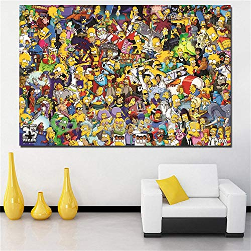 Y-fodoro Simpsons Jigsaw Puzzles Puzzle, 1000 pièces Personnages de Dessins animés de Dessins animés en Bois Adultes Puzzles, Enfants Cerveau IQ développement Cadeau