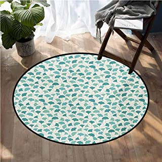 Forest Rugs for Sale Native Chinese Woodland Leaves from Ginkgo Trees Pastel Silhouettes Large Floor Mats for Living Room D54 Inch