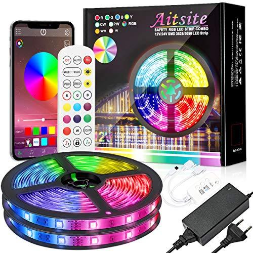 LED Strip 10M(IP65 Wasserdicht), Aitsite SMD 5050 RGB LEDs Lichterkette Streifen Lichtband mit Bluetooth, Fernbedienung, Mikrofon für Zuhause, Spielzimmer, Bar, Party und Schwimmbad