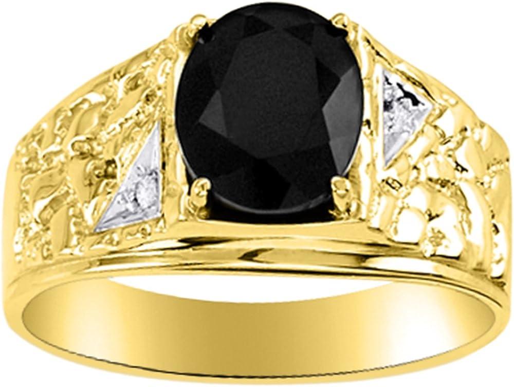 Anillo de oro amarillo de 14 quilates con diamantes de ónix para hombre