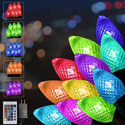 Glzifom C6 Christmas Lights 24Ft 50 LED Color Changing String Lights Outdoor LED Strawberry Lamp with Remote Control Timer for Holiday Party Girls' Bedroom Garden Path Decor