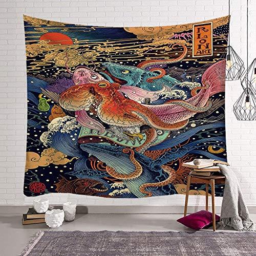 Tarot decoración de la pared tapiz japonés ballena dragón pez dragón phoenix tótem dormitorio lienzo colgante decorar vida hogar 150x200cm / L
