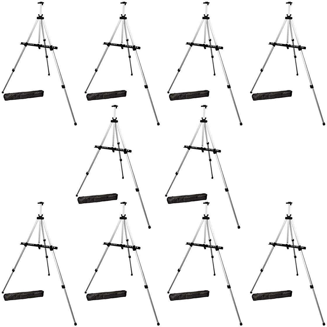US Art Supply Silver 65inch Tall Lightweight Aluminum Field Floor Table Easel with Bag (10-Easels)