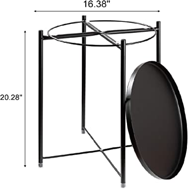 danpinera End Table, Side Table Metal Waterproof Small Coffee Table Sofa Side Table with Round Removable Tray for Living Room