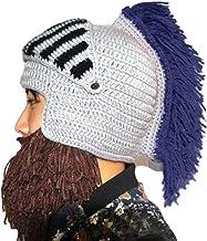 Tassel Cosplay Roman Knight Knit Helmet Men's Cap Original Barbarian Handmade Winter Warm Beard Hats Funny Beanies Christmas