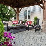 Relaxdays Terrassenofen, Feuerofen mit Schürhaken, Gusseisen, Funkenschutz, für Garten, HxBxT: 86x46x38 cm, Silber - 2