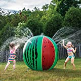 Prextex Giant Inflatable Watermelon Sprinkler Almost 4 Ft. Tall Watermelon Water Toy Fun Outdoor Water Activity for Toddlers and Kids
