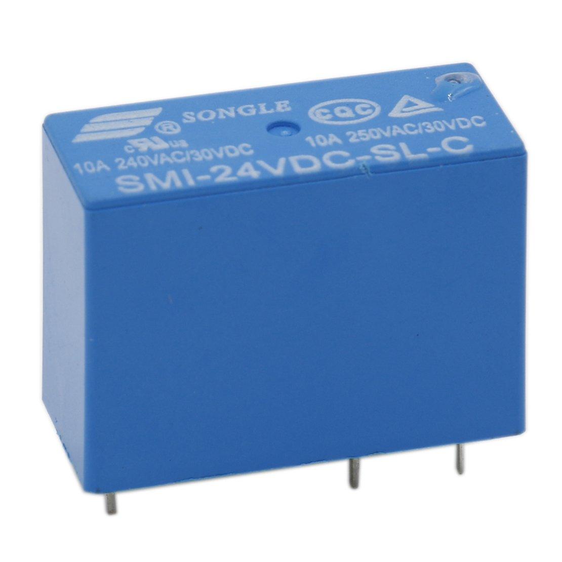 Heschen Relé de placa para PC SMI-24VDC-SL-C DC 24V Bobina SPDT 10A 250VAC/30VDC 5 pines terminales paquete de 2