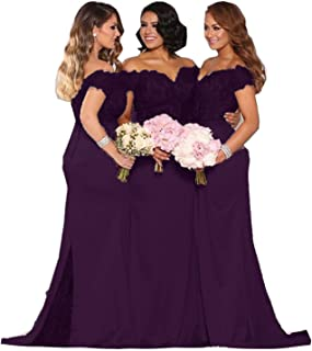 Women's Lace Bridesmaid Dresses Long 2019 Formal Mermaid Maid of Honor Gowns