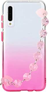 Mylne Galaxy A30S Bracelet Chain Case Cover,Gradient Clear Soft Silicone Bumper Flexible Protective Girls Women Shell for ...
