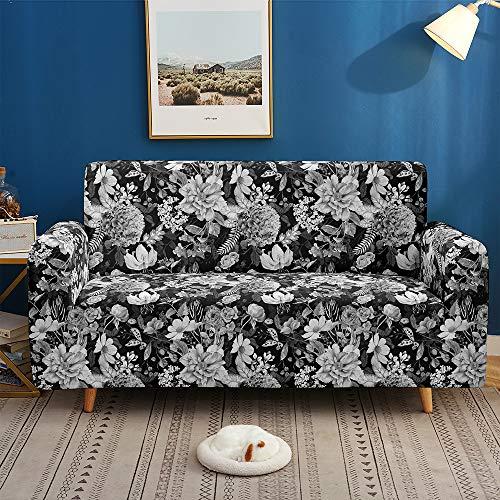 Morbuy Funda para Sofá de 1 2 3 4 plazas, 3D Hojas Flores Impresión Cubierta de Sofá Cubre Sofá Funda Sofa Couch Cover Protector Antideslizante Elastic Extensible (Gris Oscuro,1 plazas)
