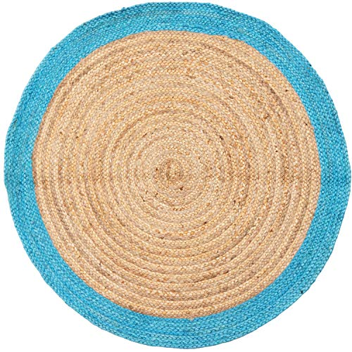 Handgewebter runder Jute Teppich 120 cm groß Luna Natur Blau | Outdoor Teppiche Rund geflochten für Garten oder Balkon | Indoor im Wohnzimmer Kinderzimmer | Mediterrane Deko für Ihre Wohnung