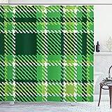 ABAKUHAUS Kariert Duschvorhang, Irische Mosaik grün, Leicht zu pflegener Stoff mit 12 Haken Wasserdicht Farbfest Bakterie Resistent, 175 x 200 cm, Smaragd Kalk grün weiß