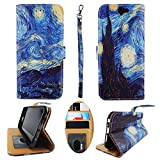 Wallet Case for HTC One A9 Q9120 9100 9300 Designer Case Wallet Cell Phone Wallet Case Flip Pu Leather kickstand ID Card Slots Folio Cover Phone Pouch Case Starry Night Art