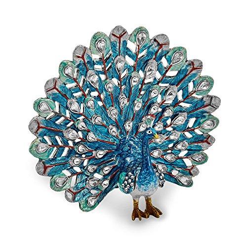 Sonia Jewels Iridescence Blue Peacock Trinket Box 4.25'
