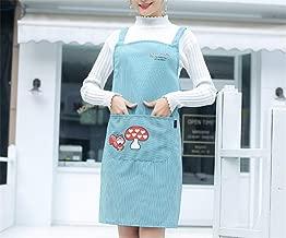 YXDZ (2 Pieces Home Kitchen Fruit Supermarket Hotel Workwear Polyester Cotton Shoulder Strap Apron Cartoon Mushroom Cute Apron Blue