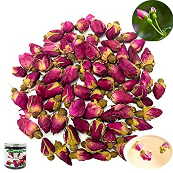 Organic Dried Pink Rose Buds Tea Flower Edible Small Red Rose Buds and Petals Flower Loose Leaf Health Benefits Decaffeinated
