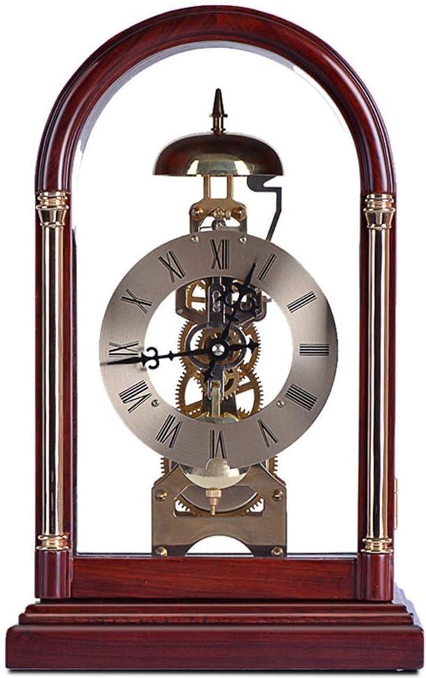 Reloj Antiguo Reloj de Mesa Cobre Puro sólido Movimiento de cronometraje Reloj de péndulo de Escritorio Antiguo Reloj de repisa (Color: Marrón)