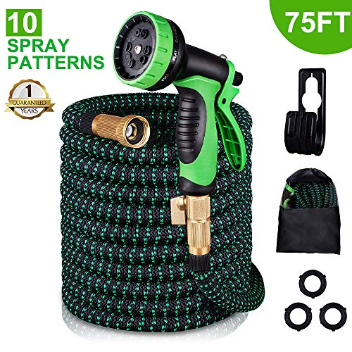 monyar Garden Hose Expandable Water Hose 75 Feet,Extra Strenght/No-Kink Lightweight/Durable/Flexible/9 Function Spray Hose Nozzle 3/4 Solid Brass Connectors Garden Hose for Watering/Washing