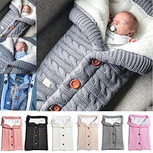 Baby-Wickeldecke für Neugeborene, Dicke Warme Kinderwagen Strickdecke Plus Samt, gestrickt, leicht, weiches Dickes Fleece, Unisex, Schlafsack für Kinderwagen, Winter, Warm