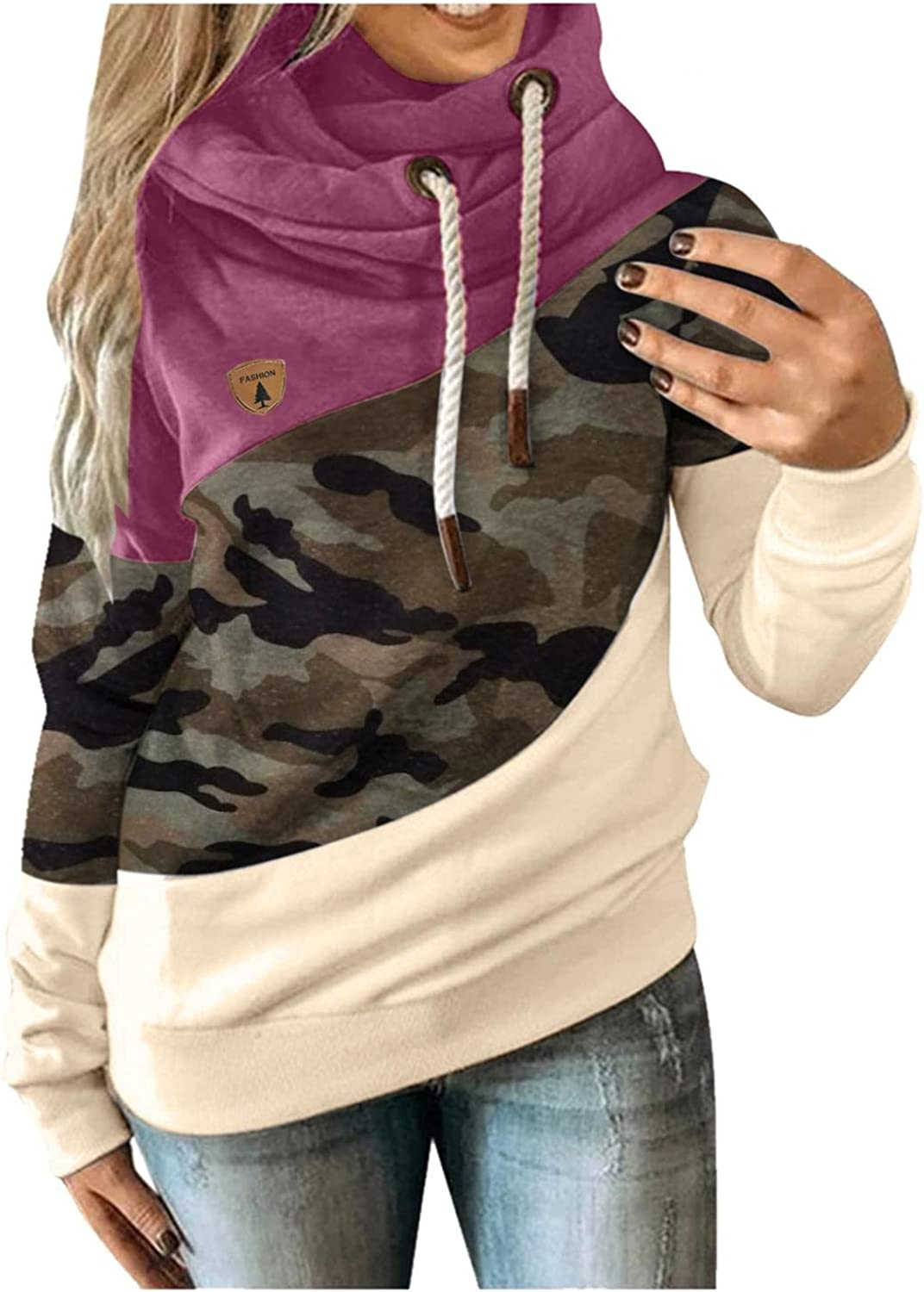 Hoodies for Women Pullover Color Block Long Sleeve Drawtsring Camouflage Sweatshirts Casual Sweater Tops