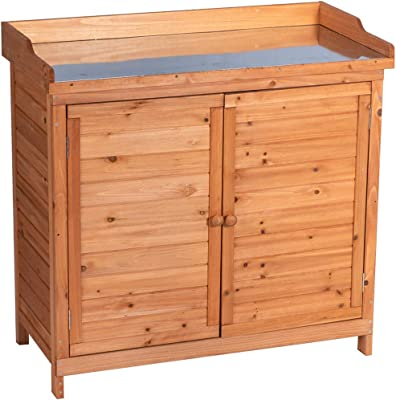 Good Life Outdoor Garden Patio Wooden Storage Cabinet Furniture Waterproof Tool Shed with Potting Benches Outdoor Work Station Table Nature Color