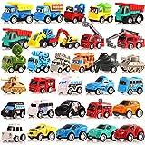 Coche de juguete para niños de 1, 2, 3 años, vehículos de construcción variados, coches de carreras y vehículos militares, tirar hacia atrás a los niños regalos para niños