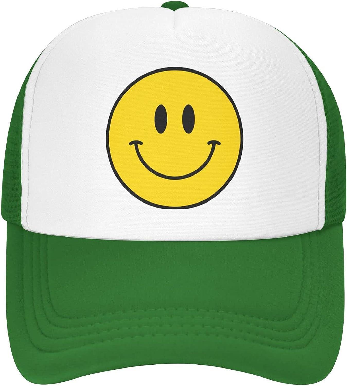 Defadike Black Smiley Face Hat Adjustable Foam Mesh Smiley Trucker Hats for Women Men