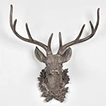 PANRODO Statue Deer Head Home Decoration Accessories Furnishing Wood Resin Animal Head Hanging Sculpture