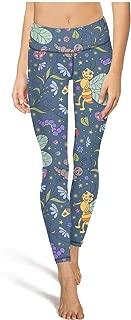 Buzz Bees Yellow Print Womens Gym Yoga Pants Tummy Control Tights Girls