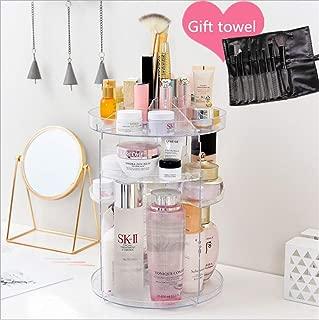 Minimalist lifestyle LLC Acrylic Makeup Organizer, 360° Rotating Cosmetic Storage Display Box, Large Countertop Shelf Vanity Organizers for Bathroom, Round