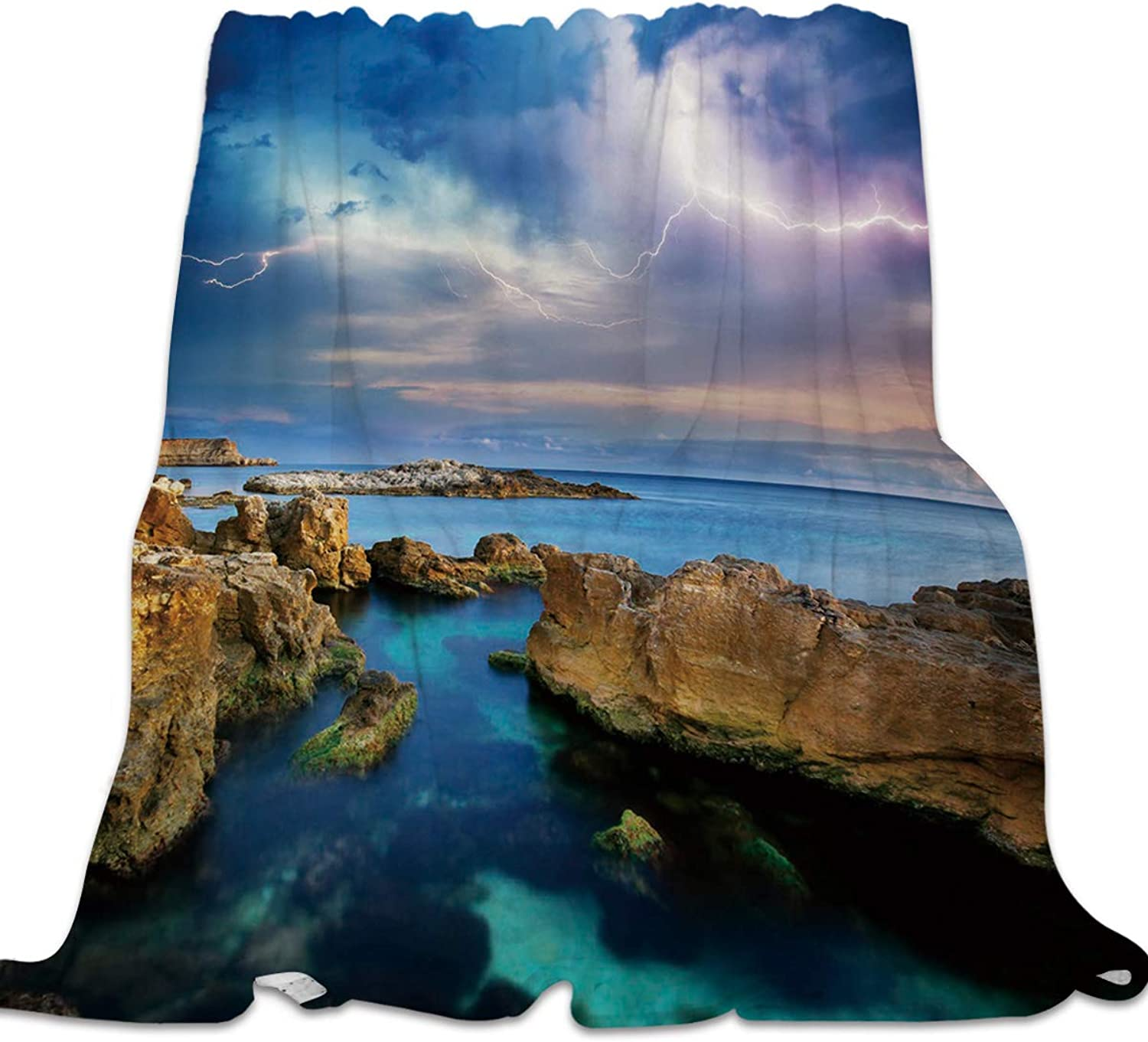 YEHO Art Gallery 39x49 Inch Flannel Fleece Bed Blanket Soft Throw-Blankets for Kids Adult,The Landscape of Beach with Lightning,Lightweight Blankets for Bedroom Living Room Sofa Couch Home Decor