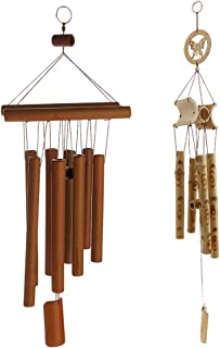 HOMYL 2X Bamboo Wind Chime Windchime Outdoor Garden Decor Butterfly and Dark Brown