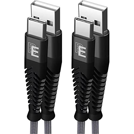USB Type C Cable, Beam Electronics (2-Pack 6 FT) USB A 2.0 to USB-C Fast Charging Nylon Braided USB C Cable for Samsung Galaxy S10 S9 S8 Plus Note 9 8, Moto Z, LG V30 V20 G5, Nintendo Switch (Gray)