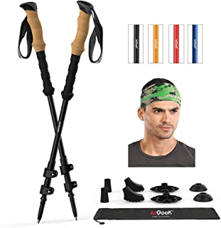 ieGeek Trekking Poles with Headband - 2 pc Pack Adjustable Hiking or Walking Sticks - Tough, Lightweight, Collapsible Hiking Poles for All Terrains and Season