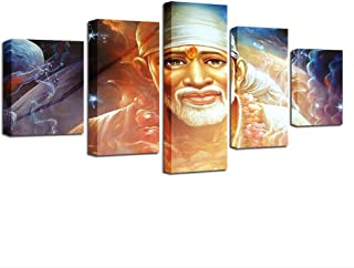 ZHFFYY Canvas Painting 5 Piece Home Decor Poster Frame Modular Hd Printed Canvas 5 Pieces Sai Baba Abstract Pictures Hindu Sage Paintings Living Room Wall Art