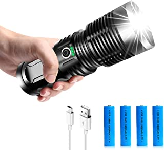 Rechargeable Tactical Flashlights, 90000 High Lumens Super Bright Powerful LED Handheld Flashlight with 3 Modes, 4 Batteri...