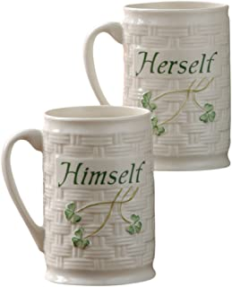 Belleek Himself and Herself Mug Set, Medium, White