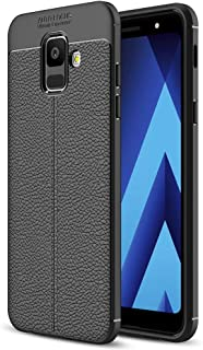 NALIA Leather Look Case Compatible with Samsung Galaxy A6, Ultra-Thin Silicone Protective Phone Cover Rubber-Case Soft Skin, Shockproof Slim Bumper Protector Back-Case Smartphone Shell - Black