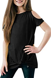 Eytino Girls Colorblock Tops Casual Loose Long Sleeve Round Neck Knot Front Tee Shirt Size 4-13
