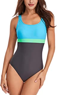 Women's Athletic One Piece Swimsuits Racing Training Sports Bathing Suit Color Block Swimwear
