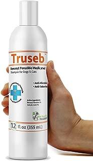 Truseb | #1 Benzoyl Peroxide Medicated Shampoo for Dogs & Cats Anti Microbial & Deodorizing,Anti Seborhheic,Dandruff,Itch, Acne,Folliculitis -Adv. Vet Formula USA