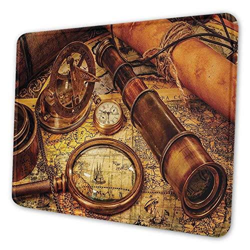 N\A Alfombrilla de ratón de Oficina Antigua Lupa brújula telescopio y Reloj de Bolsillo en un Mapa Antiguo Alfombrilla de ratón náutica para Mujer Oficina Naranja marrón Amarillo
