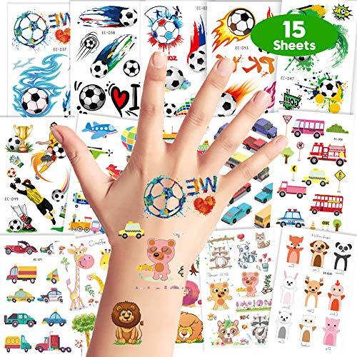 LOOHAOC Kit di Tatuaggi Temporanei per Bambini,15 Pz Ragazzo Tema Autoadesivo del Tatuaggio Impermeabile Palloni da Calcio,Automobili,Navi,Animali,Tatuaggio Temporaneo di Festa di Compleanno