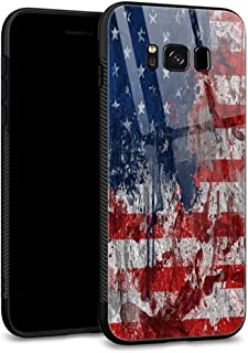 Galaxy S8 Cases, 9H Tempered Glass Back Shell Cool Pattern Designed with Soft TPU Bumper Compatible with Samsung Galaxy S8 Cases -Ink American Flag