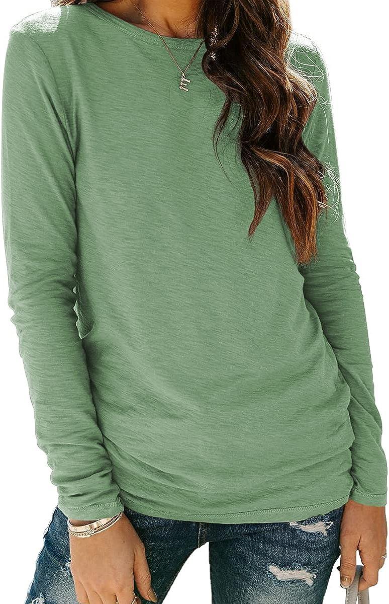 AUTOMET Womens Long Sleeve T Shirts Crewneck 2021 Fall Sweatshirt Tunic Tops Fitted Shirts Basic Tee