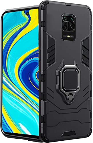 Thegiftkart Poco M2 Pro Redmi Note 9 Pro Pro Max Tough Armor Bumper Back Case Cover Ring Holder Kickstand In Built Excellent 360 Degree Protection Carbon Black