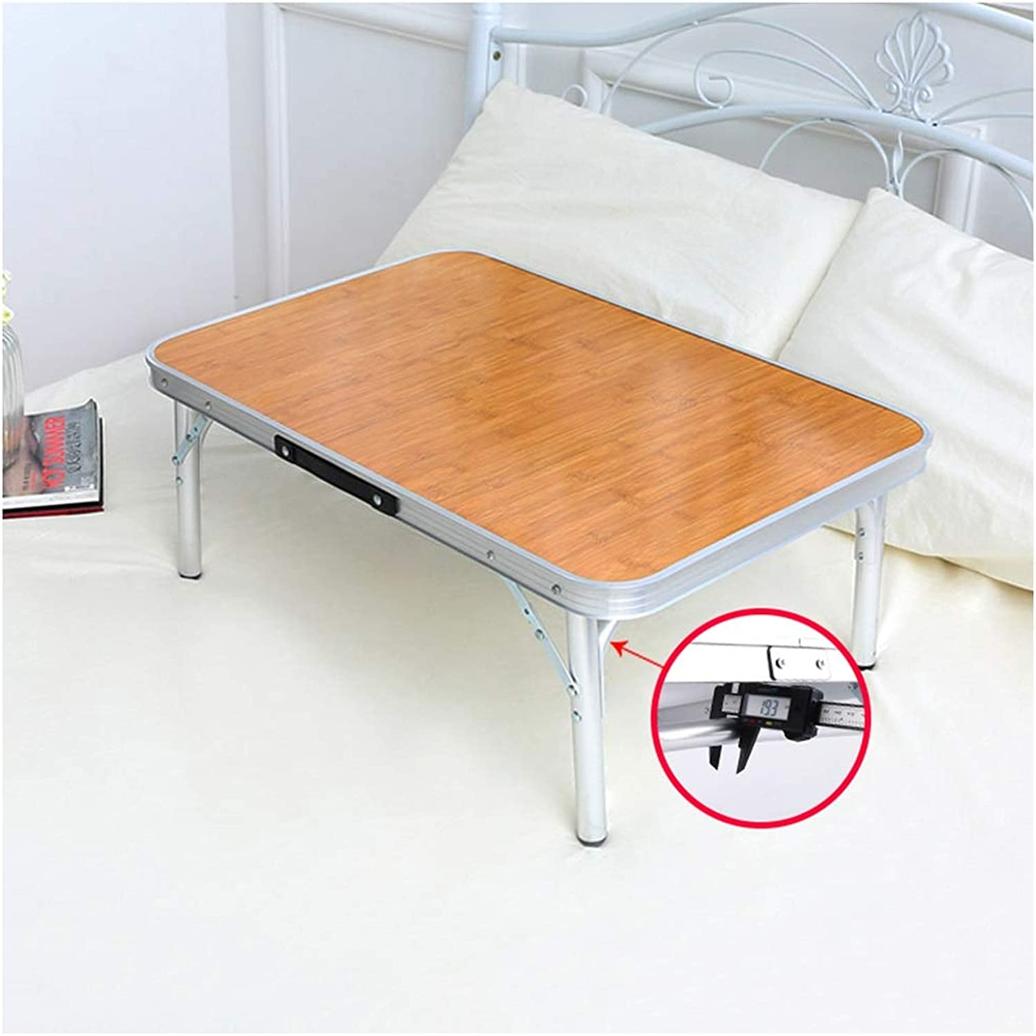 Folding Table Portable Aluminum Folding Table - Bed Laptop Desk Student Dormitory Learning Table (color   Brown, Size   60x40x26cm)